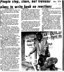 1970 News Article on Brock's First Bicycle Journey