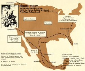 Brock's 1970 Bicycle Journey Map