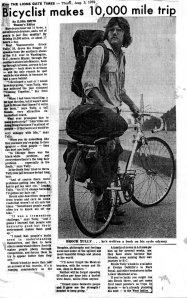 1972 News Article about Brock's 1970 Bicycle Journey