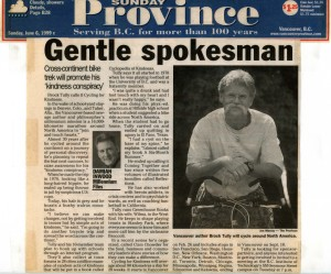 1999 News Article about Brock's Cycling for Kindness Tour