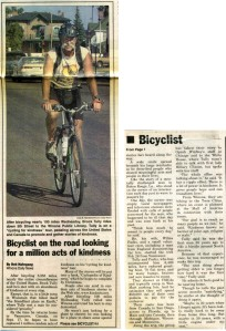 2000 News Article about Brock's Cycling for Kindness Tour
