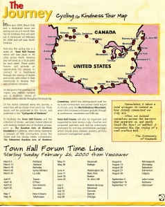 2000 Cycling for Kindness Tour Map