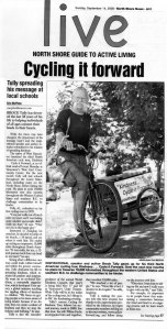 2008 News Article about Brock's Cycle it Forward Tour