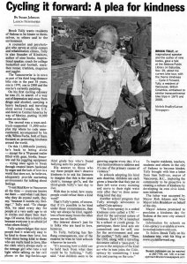 2008 Red Rock News, Sedona Article about Brock's Cycle it Forward Tour